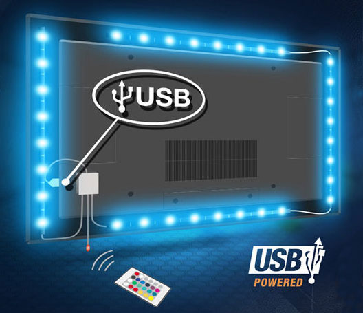 USB Powered Strip Light Led TV Backlight Multi Color Changing Kit 1